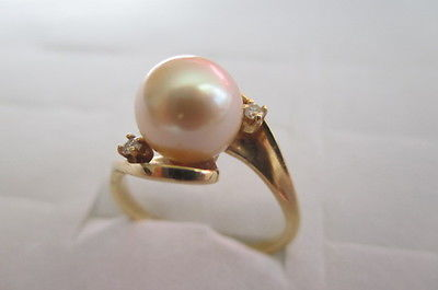 JTC 14k Yellow Gold Pearl 8mm Diamond Ring 3 Grams Size 6