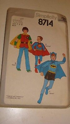 Vintage 1978 Simplicity #8714 Batman, Robin & Superman Costume Sewing Pattern