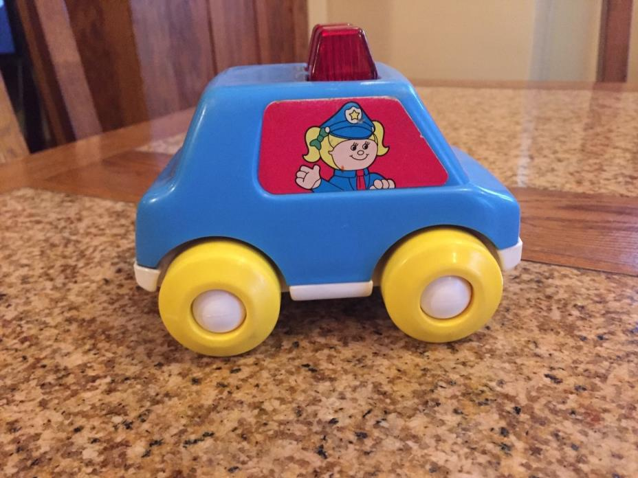 Vintage Playskool 1991 Lights and Sirens Police Car, Blue, 5136 Toy