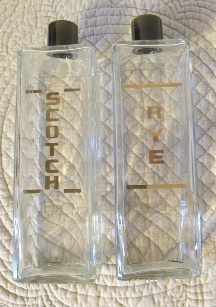 Pair of Vintage SCOTCH & RYE Whiskey Decanters Bottles