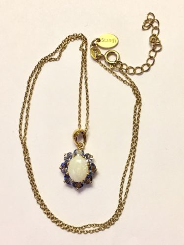 Vintage Stauer Gold Over Sterling Silver Necklace - Opal & Blue Sets - 18