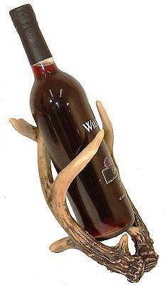 Antler wine bottle rack with glass holder, deer, Polyresin 4931