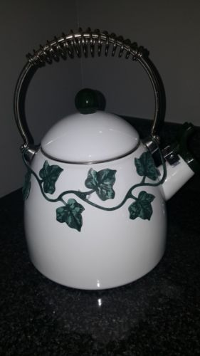 VNTG White Enamel Teapot W/Green Ivy Metal Decor Kettle Silver Spiral Handle