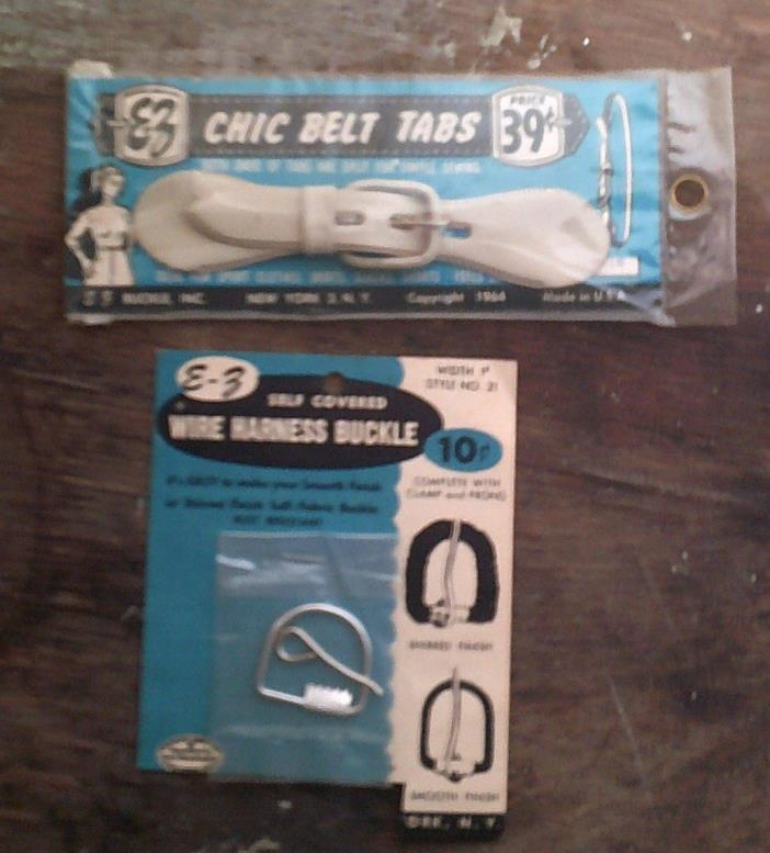 1964 EZ Buckle.2 VintagE  Sewing New Sealed CHIC BELT TABS WIRE HARNESS PRIMS