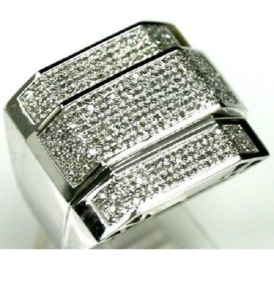 White Gold Over Lab Diamond Mens Engagement Pinky Ring Wedding Band 3.00 Ct