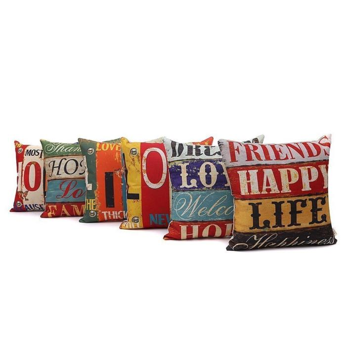 Decorative Cushion Cover Set of 6 LOVE Series Square Throw Pillow Case