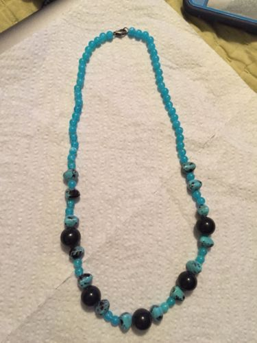 Vintage Stunning Aqua Blue Chinese And Onyx Turquoise Bead Necklace