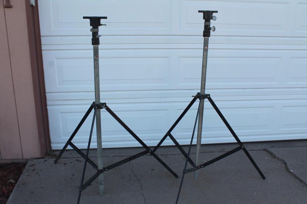 Vintage 1970s Atlas Sound Heavy Duty Steel Tripod Speaker (Pair) Stage Stands