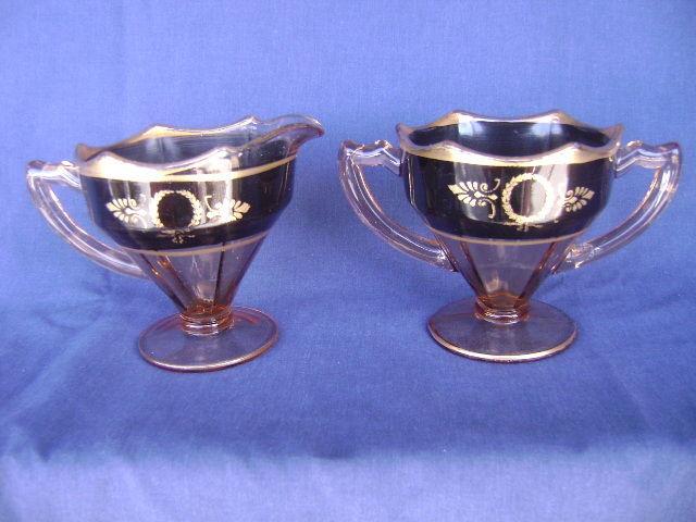 Pink Depession Glass Creamer Sugar Bowl Set Black Band Paneled Gold Trim