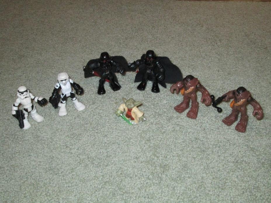 LOT of 7 STARS WARS GALACTIC HEROES FIGURES Darth Vader Chewbacca Yoda Troopers