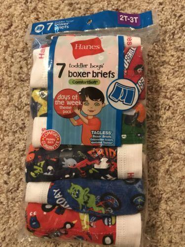 NEW Hanes days of week Toddler Boys Boxer Briefs Underwear 7 Pack 2t/3t