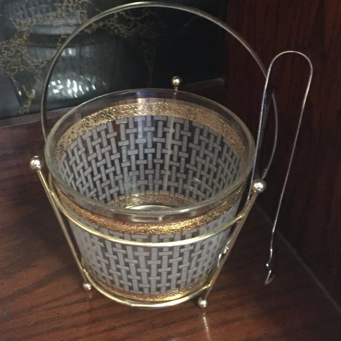 Vintage Starlite 24kt Gold Etched Glass Ice Bucket Caddy Tongs  Mid Century Mod