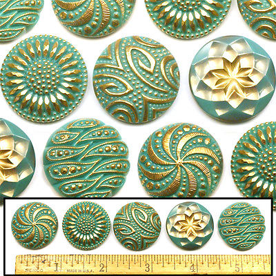 27mm Vintage Czech Glass TURQUOISE + GOLD Shankless No Shank Buttons Cabochons 5