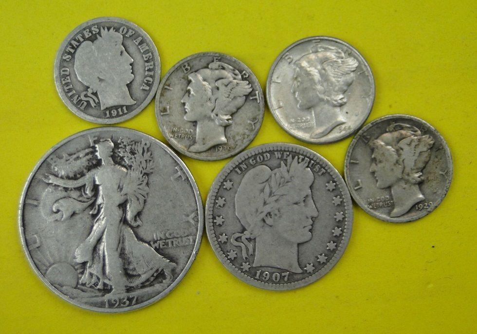 VINTAGE SILVER COINS - WALKER HALF, BARBER QUARTER, BARBER DIME, 3 MERC DIMES