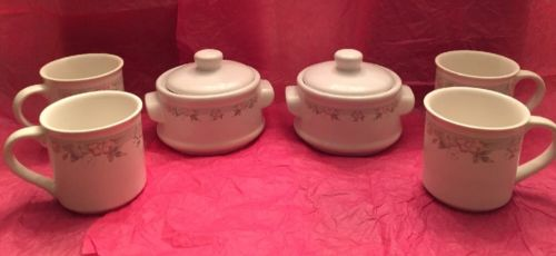 1987 Mount Clemens Pottery Beau Monde Collection 4 Mug And 2 Bowl  Floral Design