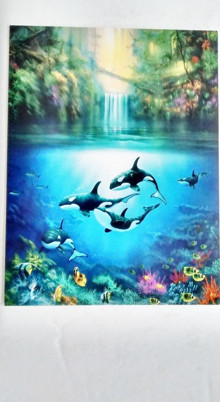 Orca Killer Whale Blank Note Cards 8 Cards w 8 White Envelopes Sanctuary Scene