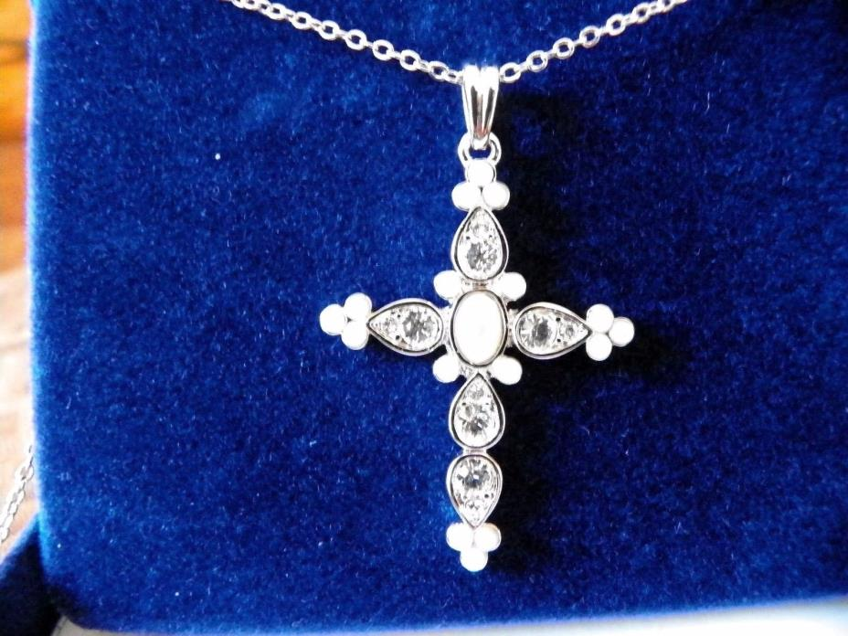 Jacqueline Kennedy Platinum Plated Pearl & Crystal Ethereal CROSS Necklace