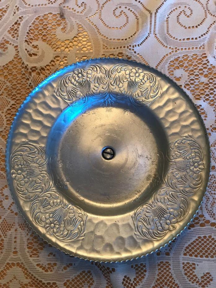 Vintage Decorative Pewter Rotating Serving Dish, Floral Etchings,