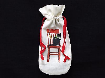 Mary Lake Thompson Black Cat On Red Chair Graphic Fabric Wine Bottle Bag