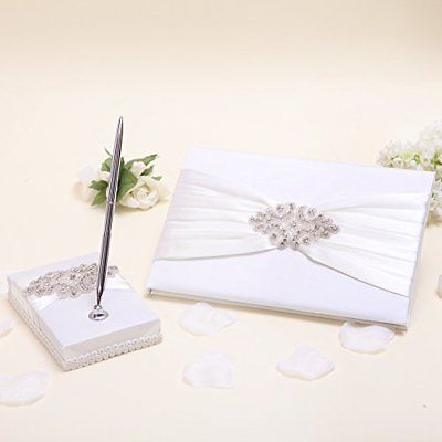 KateMelon Ivory Luxe Crystal Wedding Guest Book and Pen Set Books Pens Supplies