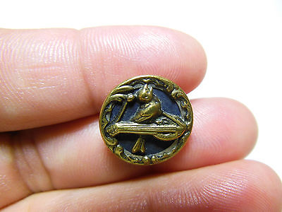 ANTIQUE TINTED BRASS COLLECTIBLE PICTURE BUTTON SINGING BIRD