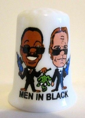 Men in Black Porcelain Thimble