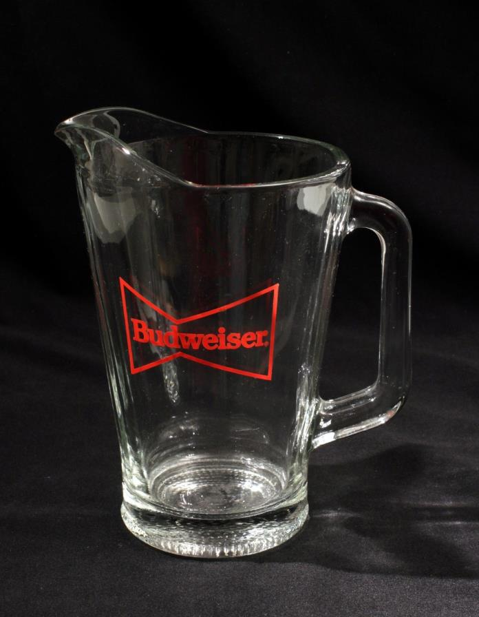 Vintage Budweiser Bow Tie Logo Heavy Glass Pitcher