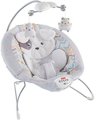 Fisher-Price My Little Snugapuppy Deluxe Bouncer White Bouncers Vibrating Chairs