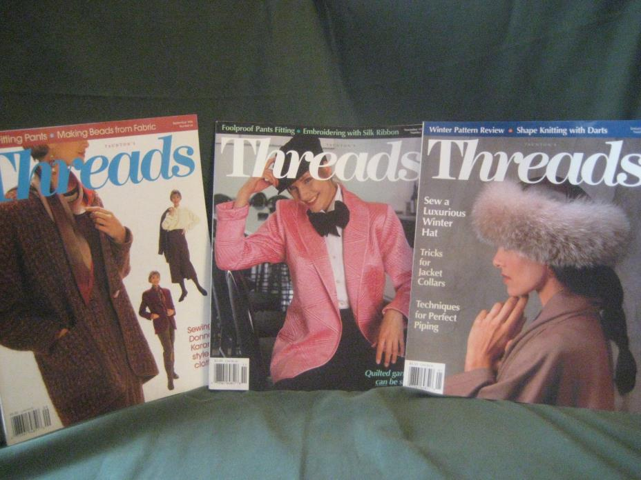 THREADS magazine vtg 94/95 back issue LOT Q #54 55 56 couture sewing needlework