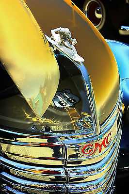 Custom 1940 GMC Truck, Fine Art Photo, Rt. 66, Hood Ornament, Retro, Americana