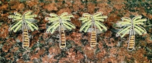 Beaded Metal Palm Tree Napkin Rings Set of 4 Ocean Theme
