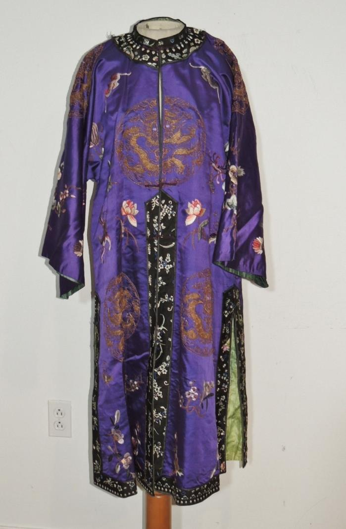 Antique Chinese  Silk Hand Embroidered Robe w Metallic Gold Couched Dragons