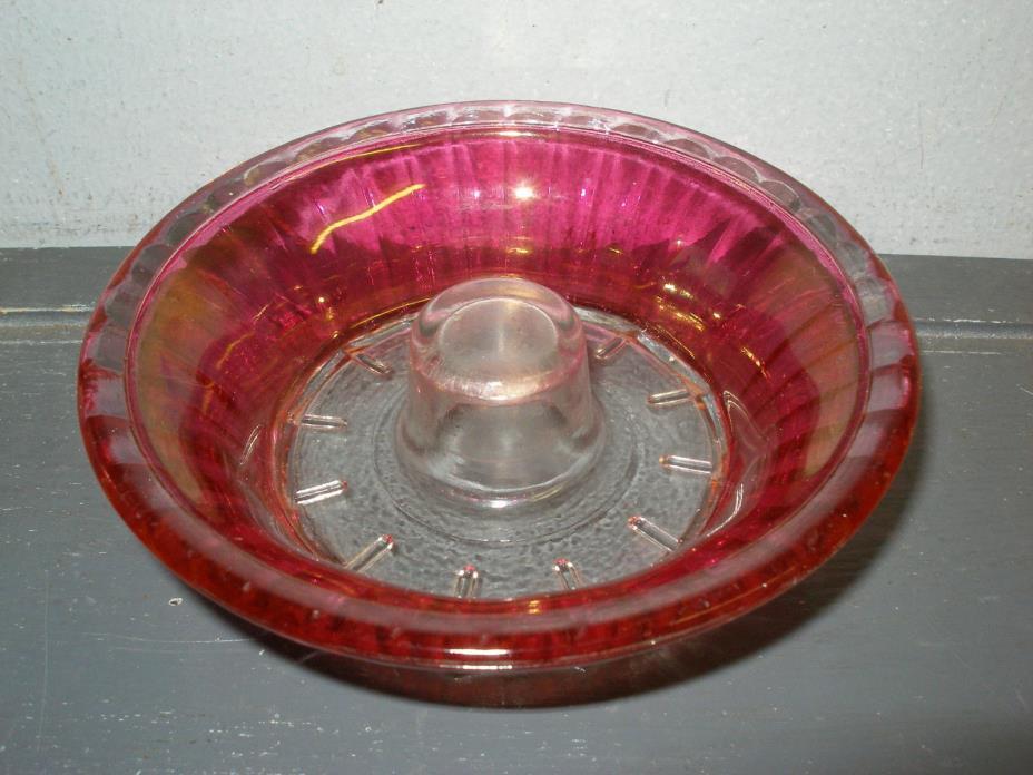 VINTAGE CRANBERRY GLASS CANDLEHOLDER  or POSSIBLY JUICER REAMER SCALLOPED DESIGN