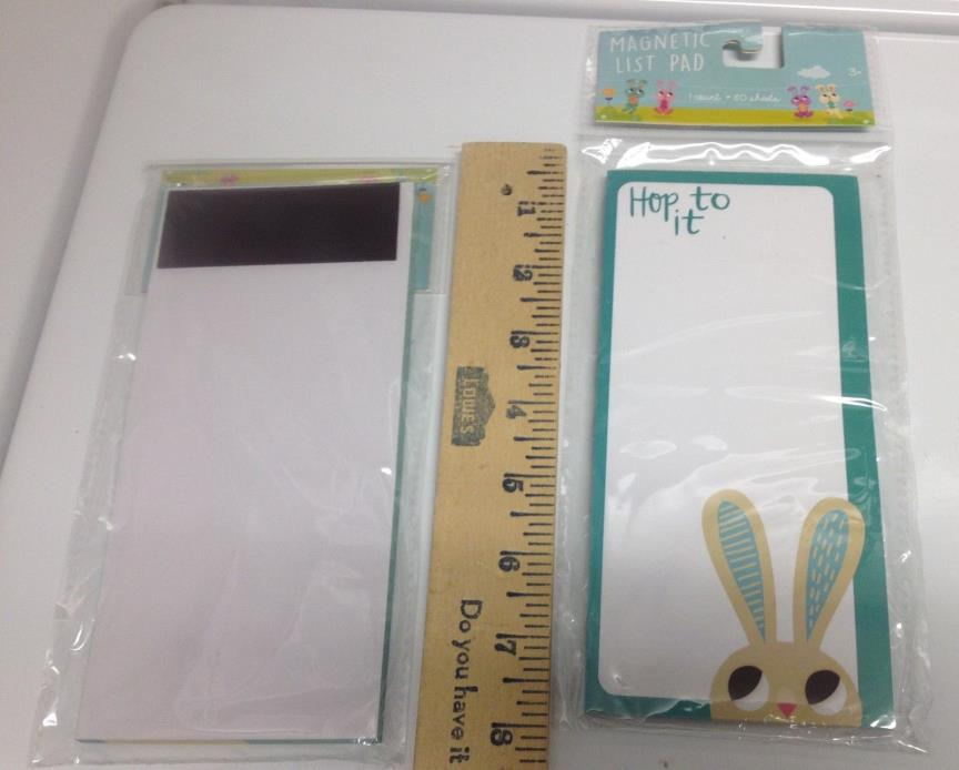 Lot of 3 Hop To It  Magnetic List Pads 80 Sheets each Bunny Rabbit NEW