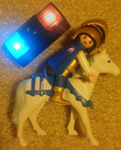 1993 Playmobil Knight/Warrior Figure w/ Horse & 2012 Police Car Top w/ Lights