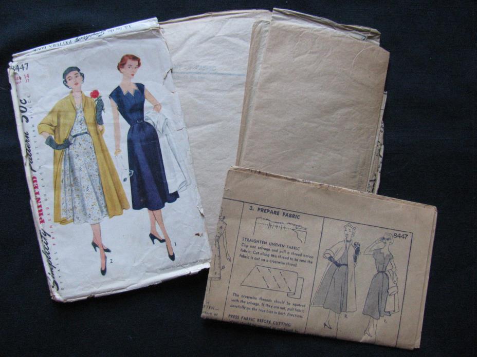 Vintage 1950's? Women's Dress and Coat Simplicity Pattern #8447 Sz14/32
