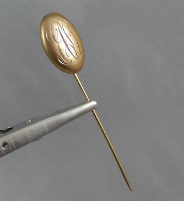 Antique Estate 10 Karat Gold Oval Initial EO Stick Pin 10K J0490