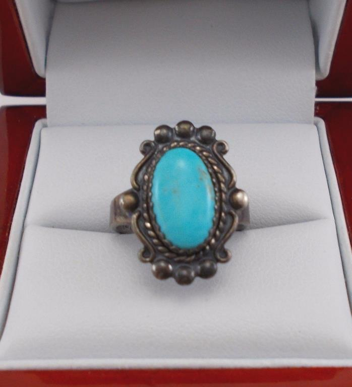 Vintage Sterling Silver Bell Trading Post Turquoise Ring Size 5