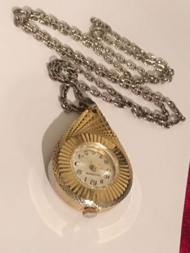 Vintage Criterion Swiss Gold Tone Necklace Watch, 1 Jewel Wind Up #J29