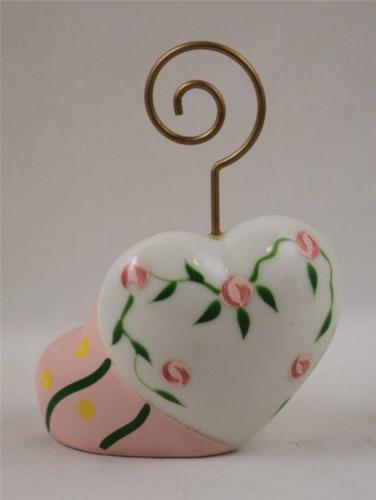 Valentine Day Porcelain Hearts Note Card Holder