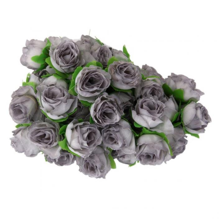 ROSENICE 50pcs Rose Flower Head Wedding Party Decoration Artificial Flower (Grey
