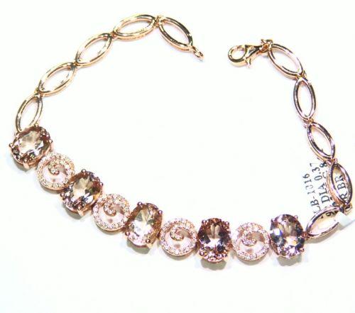 9.28CT 14K Gold Natural Morganite White Cut Diamond Engagement Tennis Bracelet