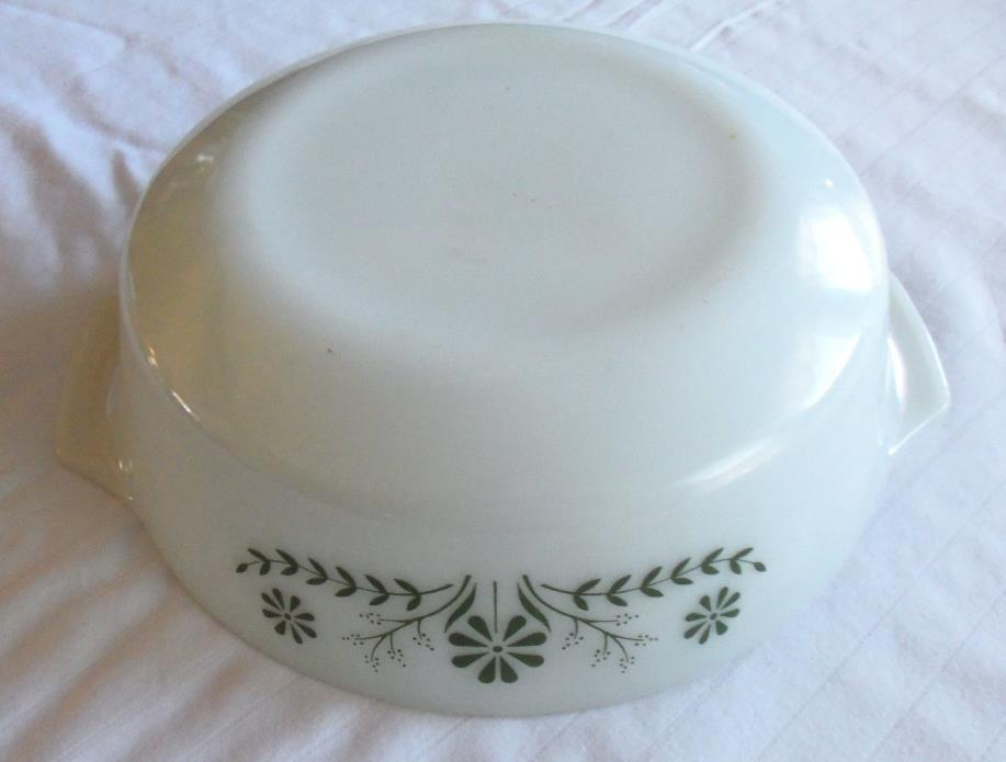 White Milk Glass With Green Floral Baking Dish Glasbake 11