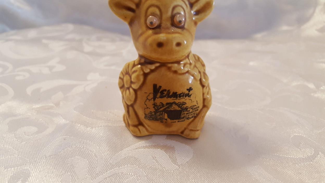 Vermont souvenir cow figurine toothpick holder  # 3176