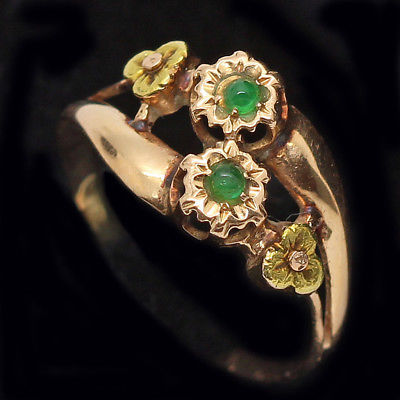 Antique Vintage Ring Deco Retro Yellow and Rose Gold Emeralds French (#6153)