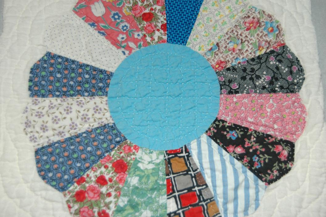 Antique Pristine Quilt Block Dresden Plate Patchwork Cotton Bright Colors