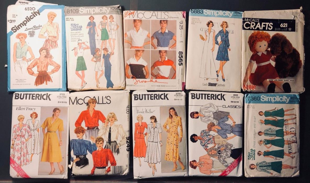 Rare Vintage Sewing Patterns (McCall's, Simplicity, Butterick) Lot of 10