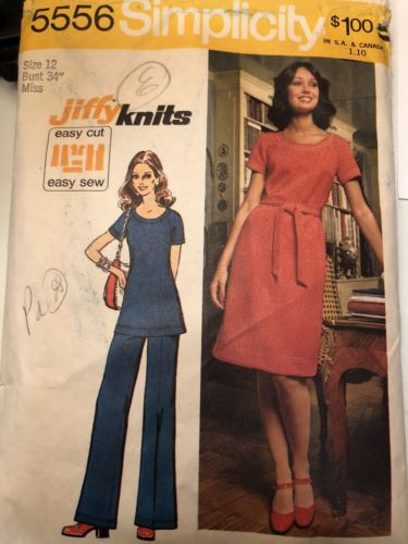 Vintage Jiffy Knits Sewing Pattern Size 12 Simplicity 2 Outfit Print #5556