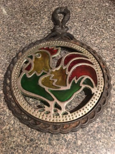 Vintage Cast Iron and Stained Glass Rooster Kitchen Trivet with Handle-Taiwan