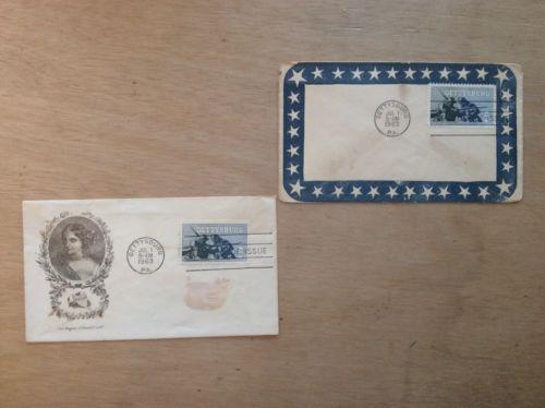 Gettysburg Stamp Cachets 1963 CIVIL WAR Genuine Blue Envolopes